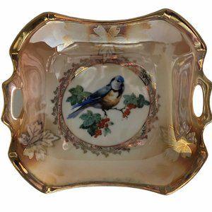 Vintage Bird Eating Berries Serving Bowl Tray
